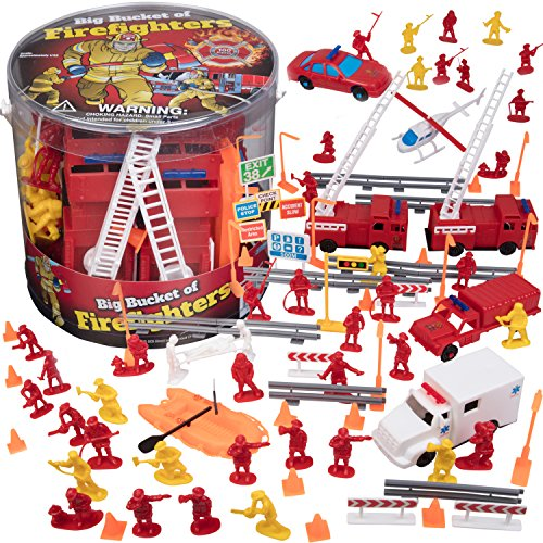 Playset Fire (SCS Direct Firemen Action Figures - Big Bucket of Firefighters - Huge 100 Piece Set)