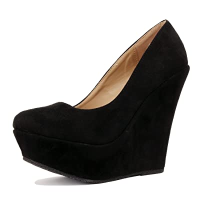 Delicacy Trendy-33 Slip On Platform High Heel Wedge Pump Shoes | Pumps