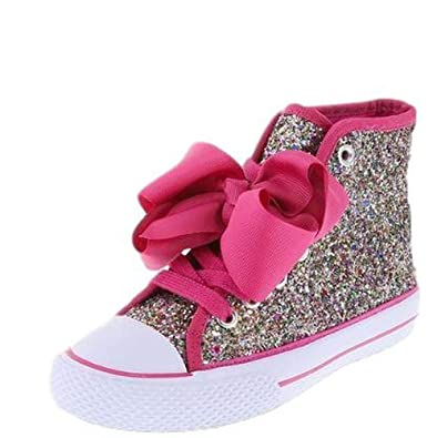 bf1f7778574 JoJo SIwa Girls Rainbow Glitter Shoe Sneaker High Top (1)