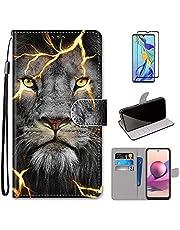 MUTOUREN Compatibel met Samsung Galaxy A32 4G Case met 1* Screen Protector, PU Lederen Portemonnee Case Flip Folio Cover Magnetische Sluiting Beschermende Bumper, Leeuw
