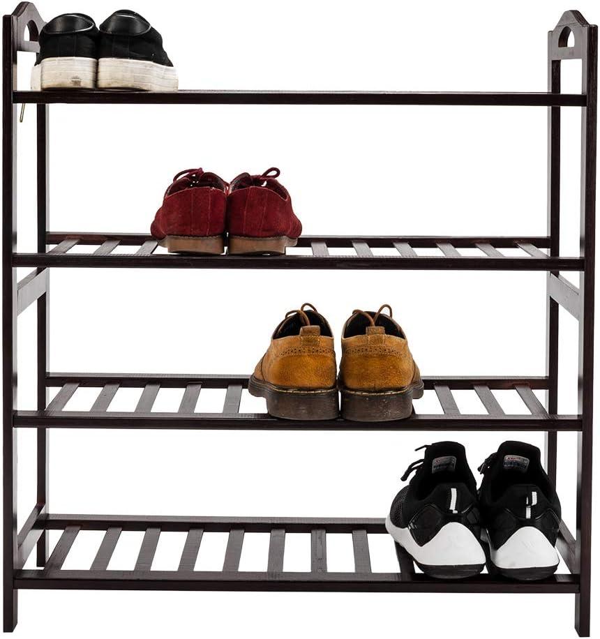 Free Standing 4-Tier Shoe Rack, Bamboo Entryway Shoe Shelf Storage Organizer, Dark Brown
