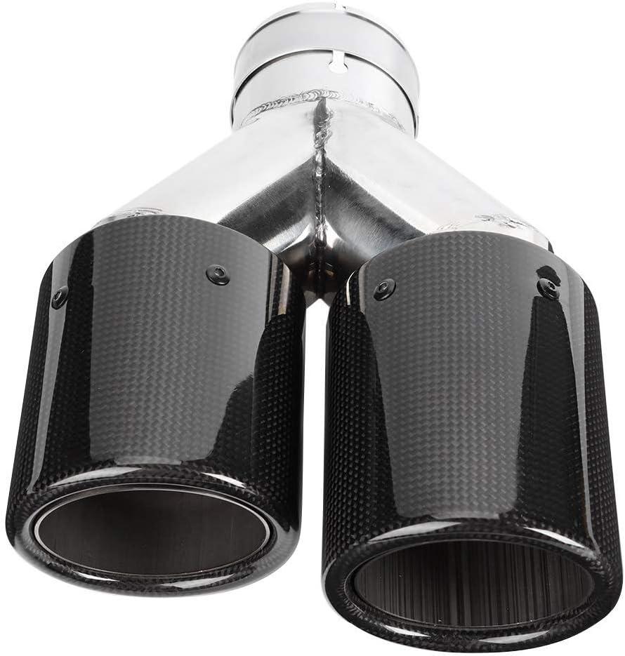 Boenta Auspuffblende Auto Auspuff Endrohr Y Typ Double Out Carbon Endrohr Schalldämpfer Auspuff Edelstahl Schwarz Doppel Universal Für Auspuff Bright Straught Edge Küche Haushalt