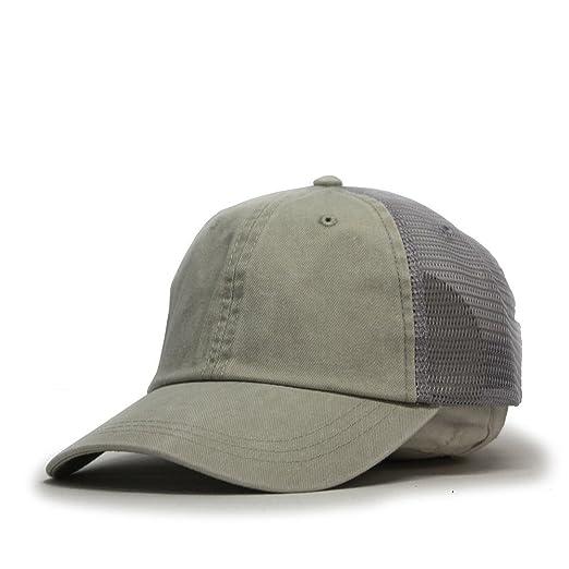 Vintage Washed Cotton Soft Mesh Adjustable Baseball Cap (Beige Beige Gray) 1475af42e696