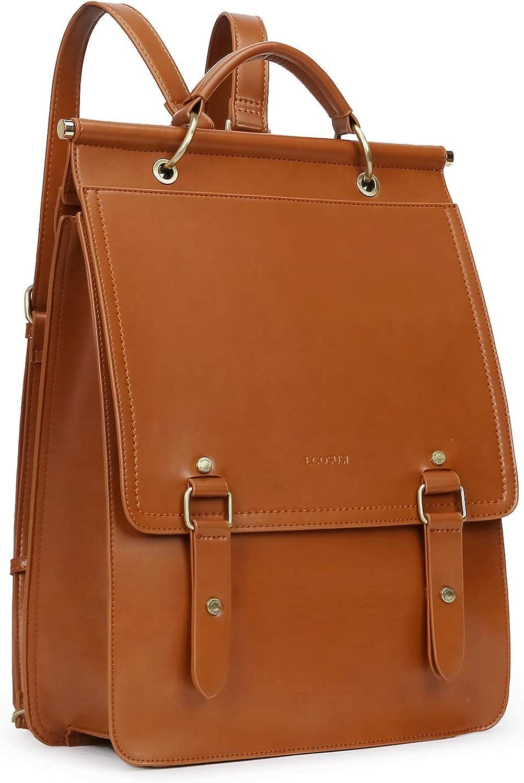 ECOSUSI Vegan Leather Backpack Women Vintage Laptop Bookbag College School Rucksack Bag for 14 inches Laptop