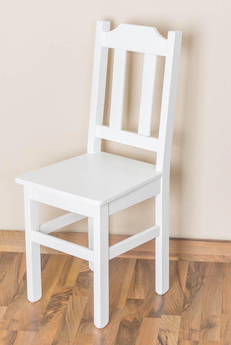 Stuhl Kiefer massiv Vollholz weiß lackiert Junco 248- Abmessung 91 x 35 x 44 cm