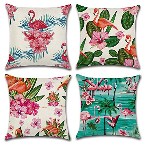 (Decorative Linen Throw Pillow Cover, Tropical Style Home Decor Burlap Pillow Case Cushion Cover Outdoor Couch, Set of 4 - Flamingos, Flowers and Palm Trees Design 18 x 18 Inches)