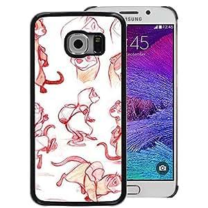 A-type Arte & diseño plástico duro Fundas Cover Cubre Hard Case Cover para Samsung Galaxy S6 EDGE (NOT S6) (Red Sketch Drawing Graphical Design)
