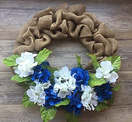 20u0026quot; Hydrangea Door Wreath Burlap Door Wreath Blue And White Hydrangea  Home Decor Door Decoration