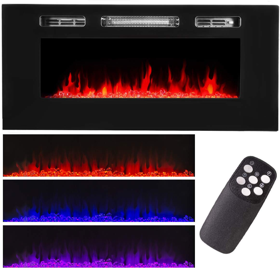 XtremepowerUS 1500W Recessed Electric Insert Fireplace Wall Mounted Fire Place Heater Multicolor Flame, Remote Control