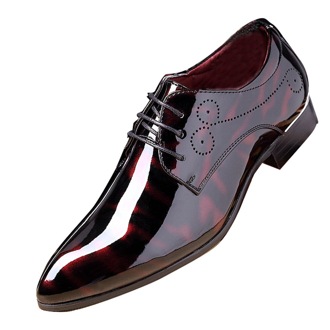 Men Fashion Dress Business Shoe Pointed Toe Floral Patent Leather Lace up Oxford Black Brown Red Grey