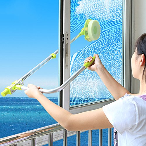 A.B Crew Upgraded Telescopic Outside Window Cleaner with Squeegee and Rotatable Sponge Wiper