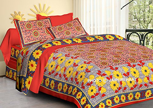 Jaipuri haat Traditional Florescent Print Cotton Double Bedsheet with 2 Pillow Covers
