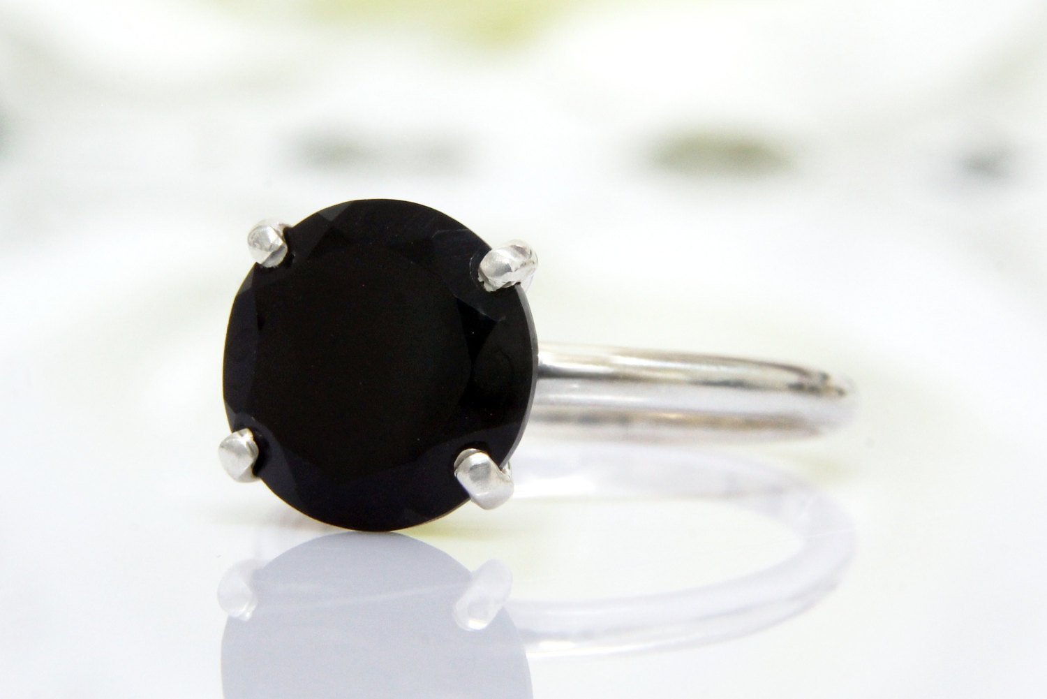 black onyx ring, silver ring, black diamond ring, delicate stone ring, anniversary ring, promise ring, black ring