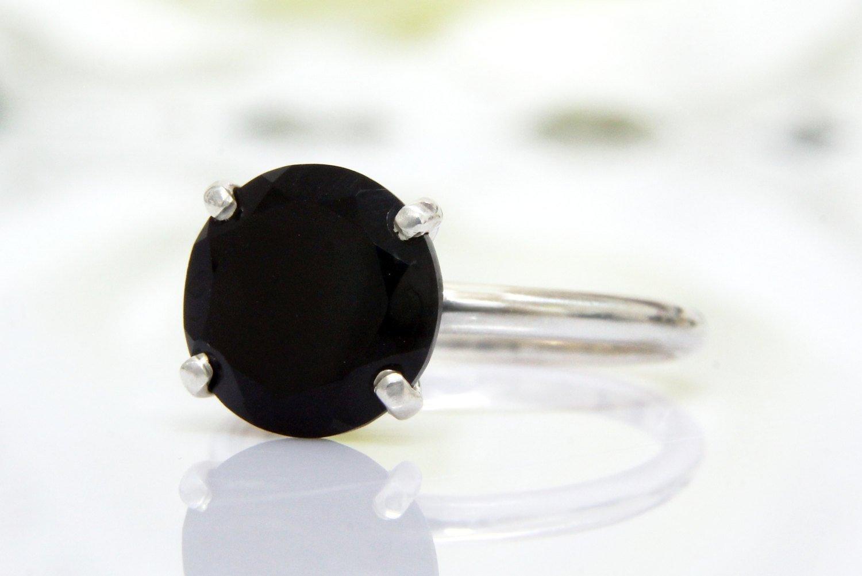 black onyx ring, silver ring, black diamond ring, delicate stone ring, anniversary ring, promise ring, black ring