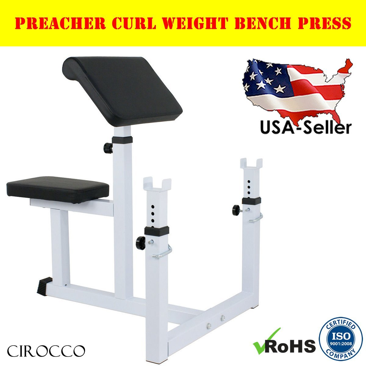 Cirocco Preacher Curl Weight Bench Press | Seated Arm Rest Curling Biceps Barbell Dumbbell - Adjustable Seat Bar Machine Isolated Station | For Commercial Home Gym Fitness Exercise Training Workout