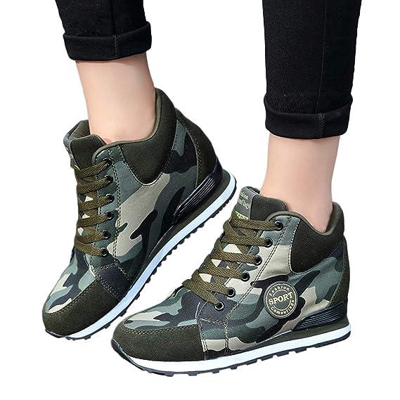 Zapatillas de Running para Mujer,JiaMeng Zapatos de Camuflaje de Lona al Aire Libre onales Zapatillas con Cordones de Suela Gruesa Zapatillas de Deporte: ...