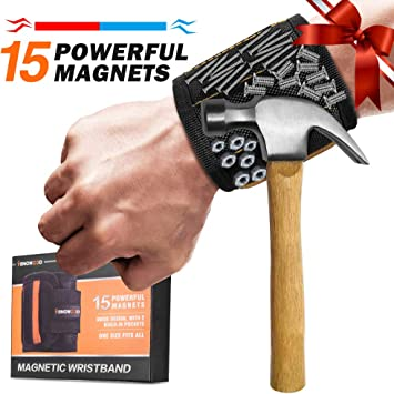 Magnetic Wristband with Strong Magnets holding nails screws bits fasteners bolts