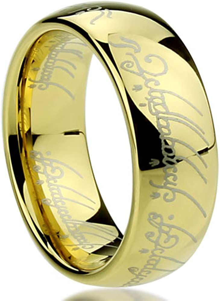 Double Accent Custom Engraving 7.5MM Comfort Fit Titanium Wedding Band Hammered Center Gold Tone Milgrain Promise Ring