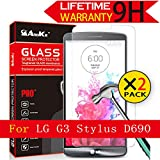 LG G3 Stylus Glass Screen Protector, (D690)[2 Pack] AnoKe [Lifetime Warranty](0.3mm 9H 2.5D) Tempered Glass Screen Protector Film Shield For LG D690 Glass - 2Pack