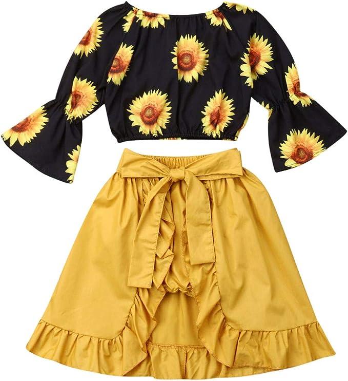 Amazon.com: Bebé Niñas Girasol Estampado Volantes Off-hombro ...