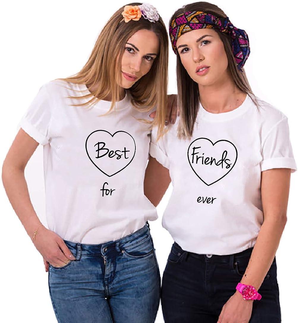 Donna T-Shirt Best Friends BFF per Due Ragazze Stampa Magliette Manica Corta Tee Nero Bianco Cotone 1 Pezzi