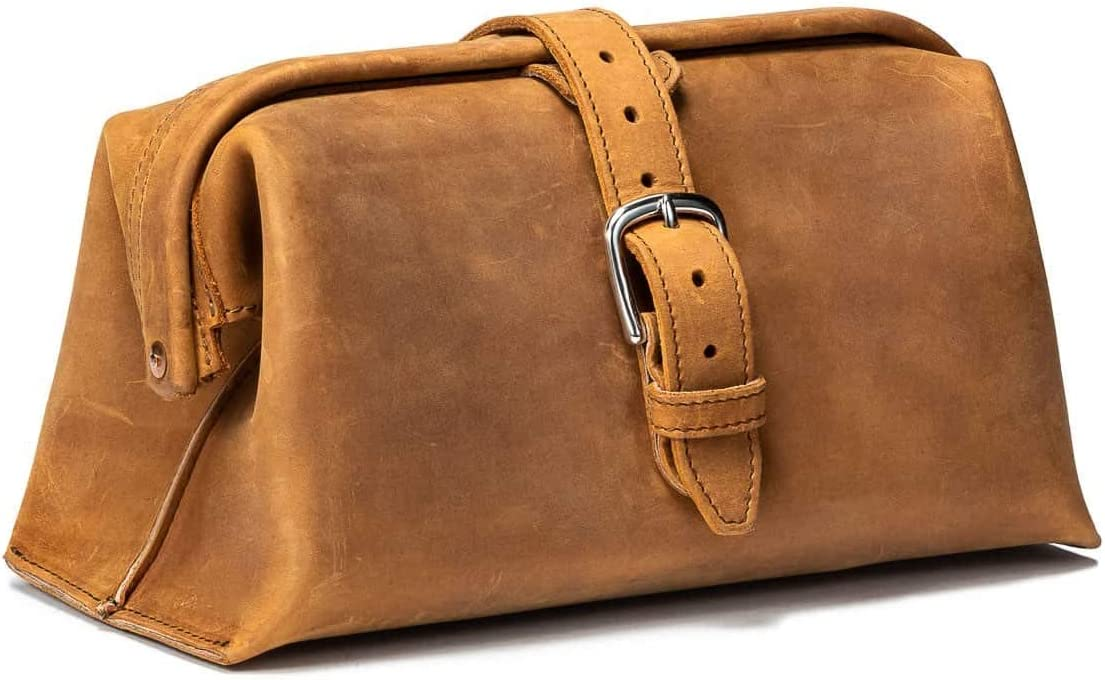 Saddleback Leather Co Expandable Full Grain Leather Quality Toiletry Travel Bag Dopp Kit Shower Bathroom Accessory Includes 100 Year Warranty 01-10-0024