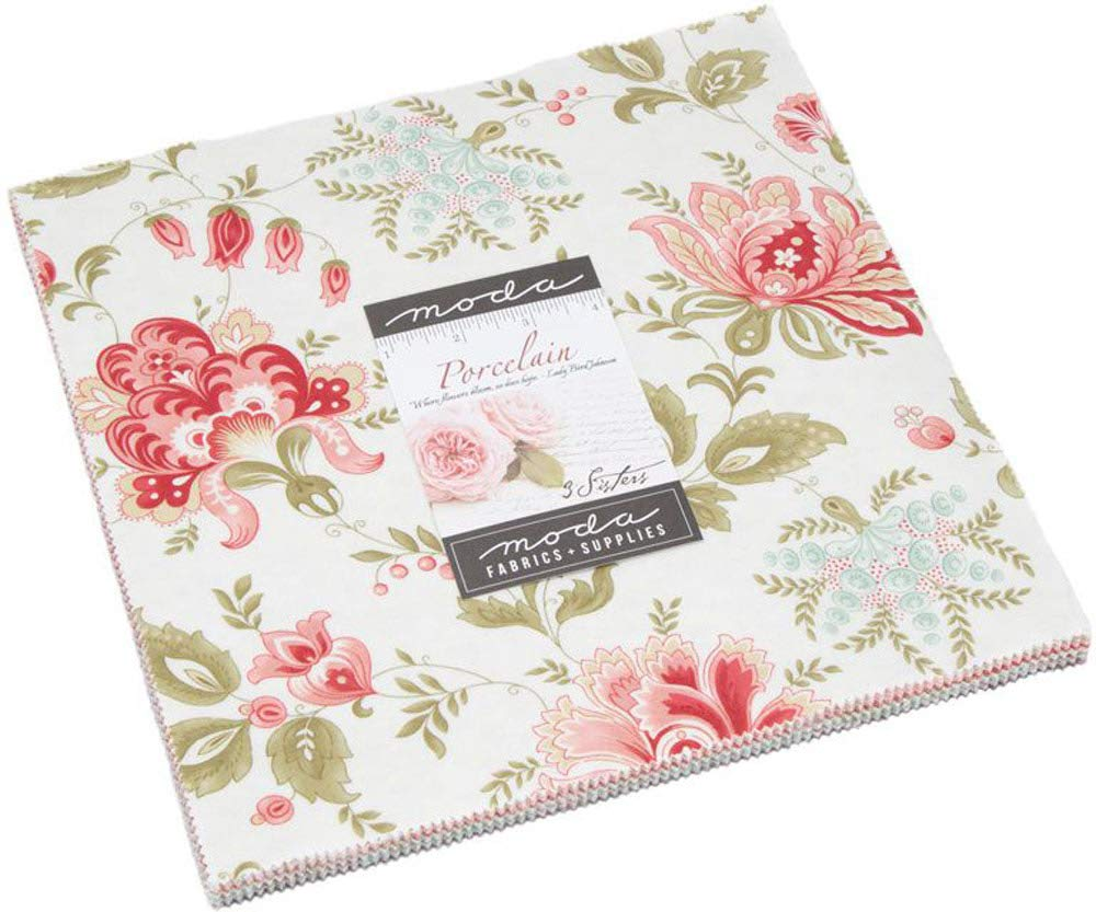Porcelain Layer Cake, 42-10 inch Precut Fabric Quilt Squares by 3 Sisters