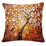 Oil Painting Black Large Tree and Flower Birds Cotton Linen Throw Pillow Case Cushion Cover Home Sofa Decorative 18 X 18 Inch (1)