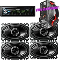 Package - 2 Pairs of Pioneer TS-G4645R 4 x 6 2-way 200W Car Speakers + Pioneer DEH-X6900BT Single-DIN In-Dash Bluetooth CD Receiver + Free EBH700 Headphone