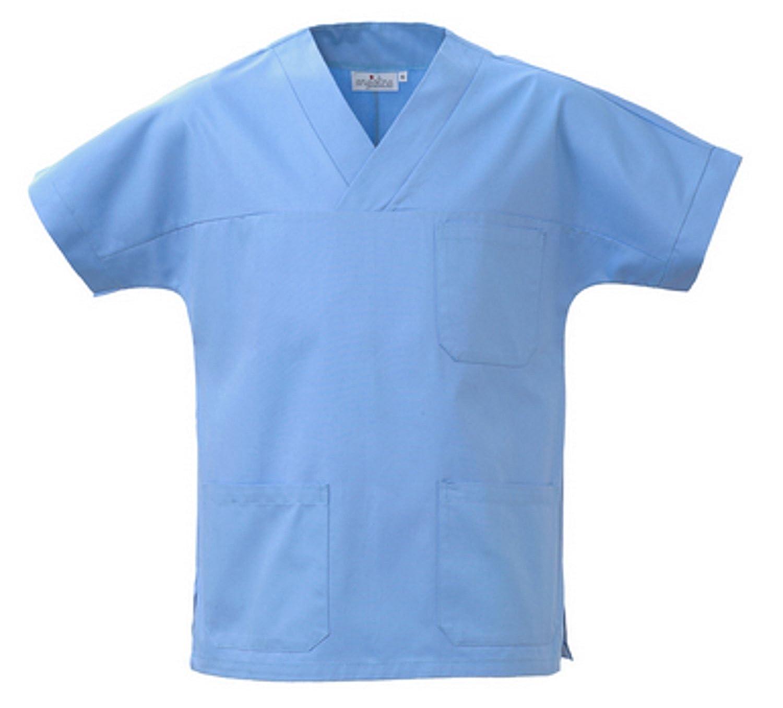 Camice Casacca Uomo Donna A V Per Medico Infermiere Celeste MS1401