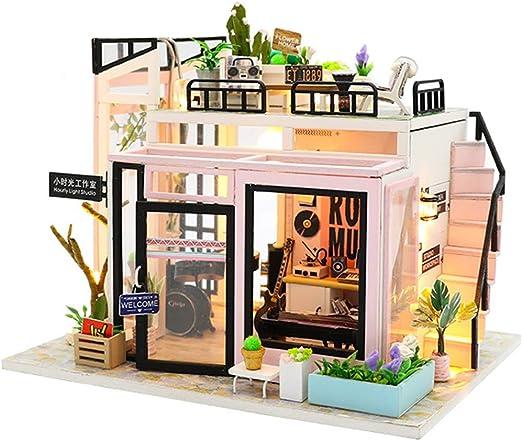GEPFD-DIY Kits de casa de muñecas de Bricolaje Casa de Madera en Miniatura, Modelo Hecho a Mano Juguetes artesanales para niños, Adolescentes y Adultos: Amazon.es: Jardín