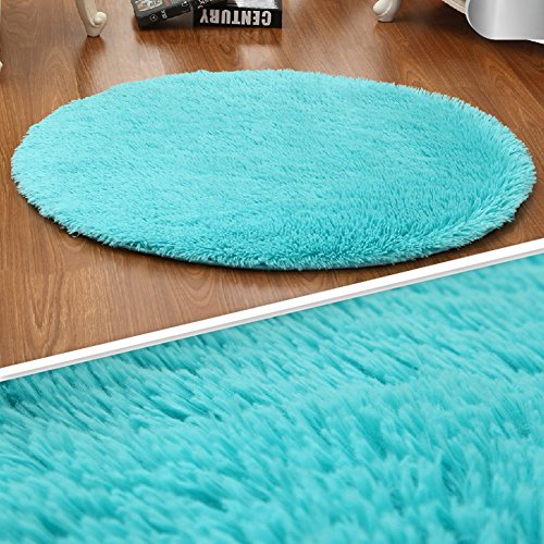 LOCHAS 4-Feet Round Area Rugs Super Soft Living Room Bedroom Home Shag Carpet (Blue)