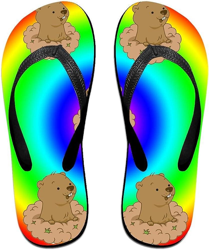 Tailing Flip Flops Dew Teeth Groundhog In Colorful Pattern Unisex Trendy Print Slippers Beach Sandal