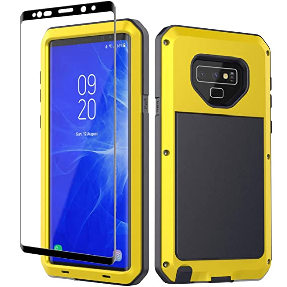 best sneakers 6668f 8eeb1 Galaxy Note 9 Case, Note 9 Heavy Duty Shockproof Hybrid Metal Silicone High  Impact Rugged Case Tempered Glass Screen Protector [Full Screen Coverage]  ...