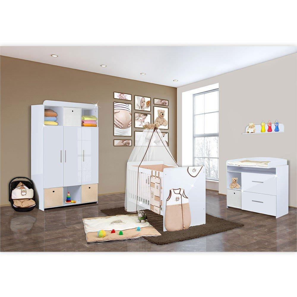 Babyzimmer Mexx in Weiss Hochglanz 11 tlg. mit 3 türigem Kl. + Textilset Eule in Beige