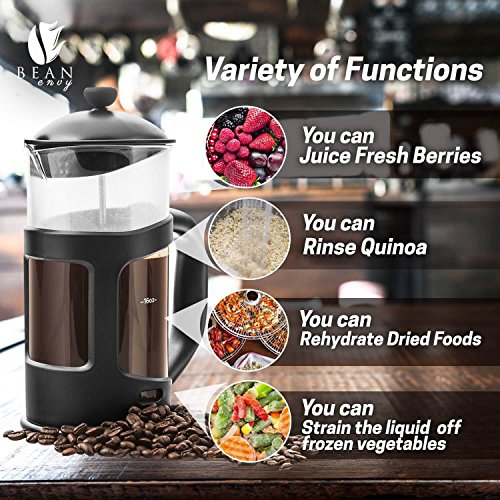 Professional Grade 34 oz French Press Coffee Maker & Premium Milk Frother With Stainless Steel Stand - Save Time & Money With Homemade Lattes! Spice Up Your Countertop & Taste Buds Every Morning! by Bean Envy (Image #3)