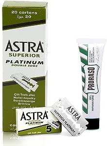 Astra Pack de 100 cuchillas de doble hoja + Proraso Afeitado Cortados Curación Gel (10 ml): Amazon.es: Salud y cuidado personal