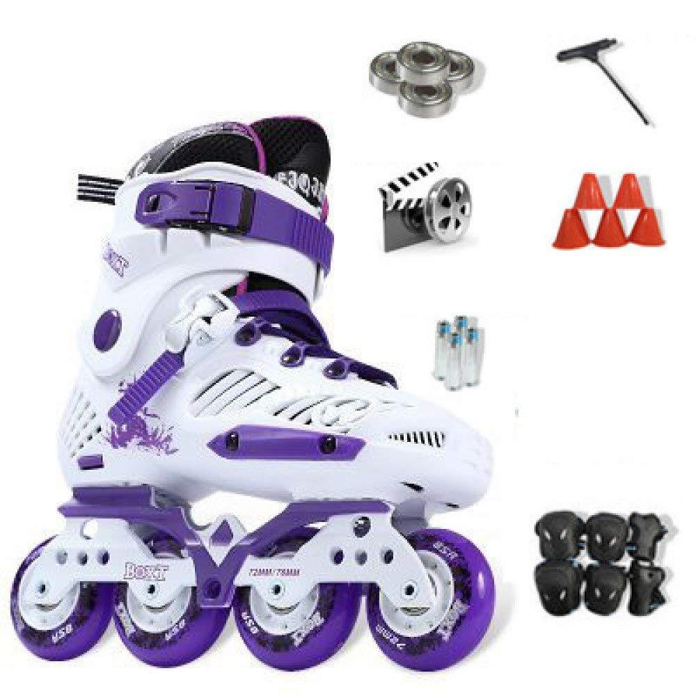 ZYH 大人の子供のための単列ローラースケート男の子女の子初心者4輪トリプルロックメッシュ通気性ローラーブレードブーツ安全パッドヘルメット子供スケートセット (Color : Purple-41Yards-Set3)   B07QX6ZTJN