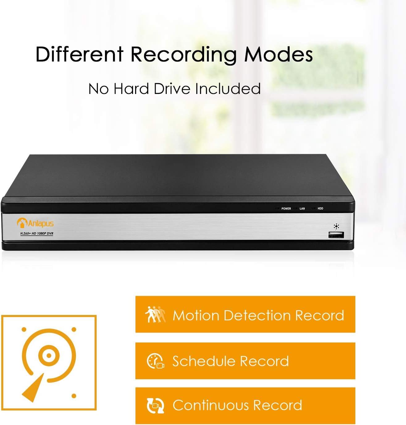 DVR Videograbador de Vigilancia 2TB Disco Duro para CCTV Sistema de C/ámaras de Seguridad Anlapus 16 Canales 1080P H.265