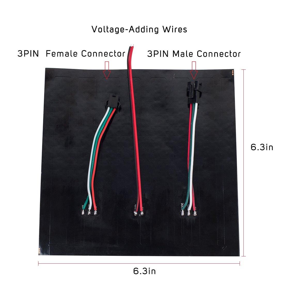 Btf Lighting 048ft048ft Pixel 256 Pixels Ws2812b Dream Color Led Wiring Diagram Digital Flexible Panel Individually Addressable Full Dc5v Home Improvement