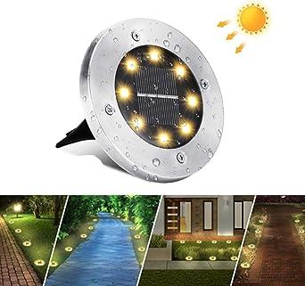 Luces de Tierra Solares, BrizLabs 8 LED Luces Solares Exterior Jardin Focos Solares IP65 Impermeable Luz de Suelo Lamparas Solares para Terraza Camino Césped Patio, Blanco Cálido: Amazon.es: Iluminación