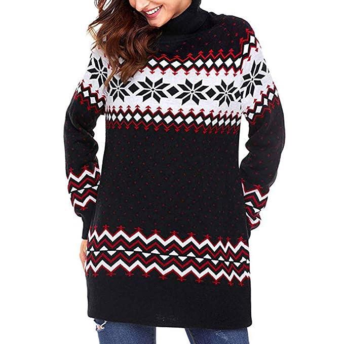 fc573218a015 Modaworld Vestiti Mini Abito da Donna di Natale Christmas Sweater Women  Casuale Elegante Fiocco Neve Merry