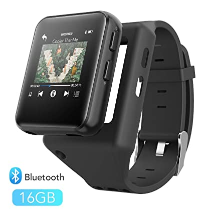 Clip MP3 Player with Bluetooth, AGPTEK 16GB Sport Bluetooth MP3 Watch for Running, Jogging, Cycling, Hiking Support FM Radio, Vioce Recorder and ...