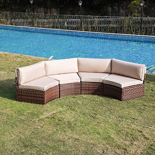 SUNSITT 4-Piece Outdoor Half-Moon Sectional Wicker Sofa Set Patio Furniture, Brown PE Rattan and ...