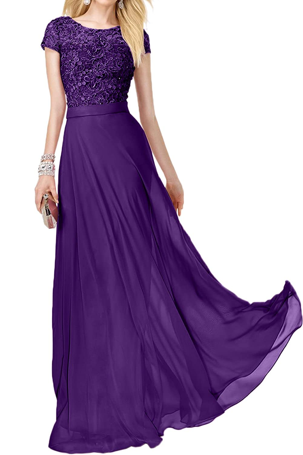 DressyMe Womens A-Line Short Sleeves Bridemaid Dress Maxi Party Gown Round-Neck