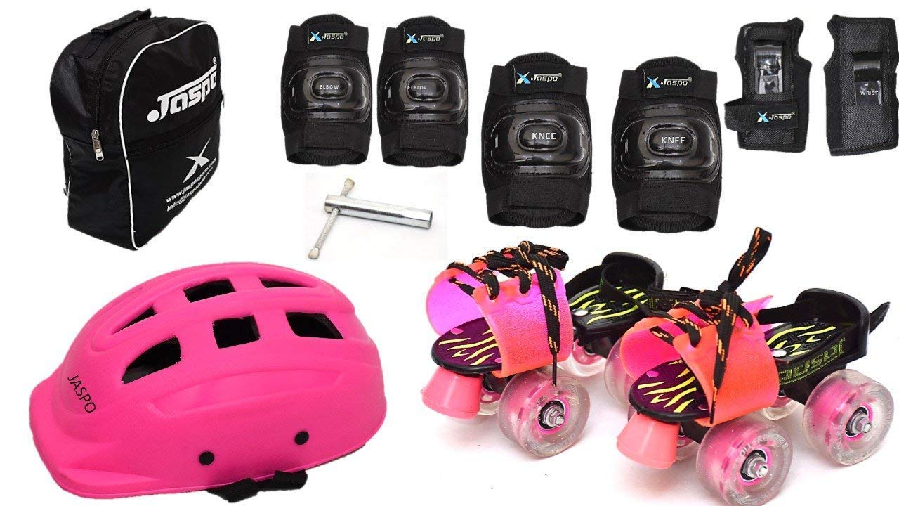 Jaspo Derby Dolls Pro Junior Adjustable Roller Skates Combo Suitable for Age Group Upto 5 Years