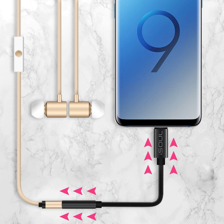 iSOUL Type C Stereo Kopfh/öreranschluss Adapter Dongle Aux Kabel Kompatibel f/ür Huawei USB C zu 3,5 mm Audio Adapter Google Pixel 2//2 XL OnePlus HTC iPad Pro 2018 und andere Samsung