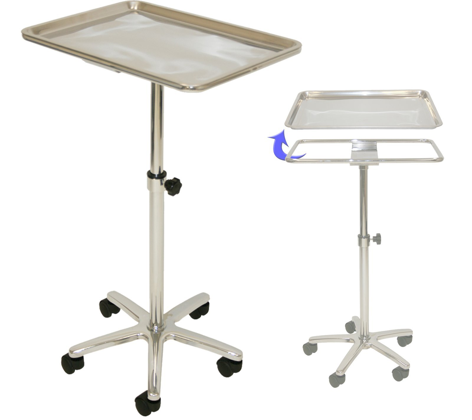 InkBed Extra Large Chrome Steel Single-Post Mayo Instrument Stand with Lift Out Work Tray by InkBed