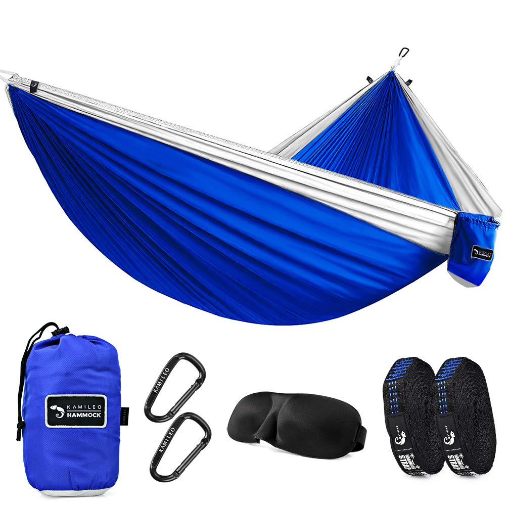 Fox Outfitters Neolite Single Camping Hammock – Lightweight Portable Nylon Parachute Hammock for Backpacking, Travel, Beach, Yard. Hammock Straps Steel Carabiners Included