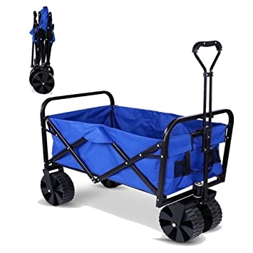 meflying Heavy Duty plegable carro Wagon de playa todo terreno utilidad plegable Camping Wagon Garden carrito
